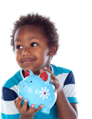 A smiling boy holding a piggy bank.