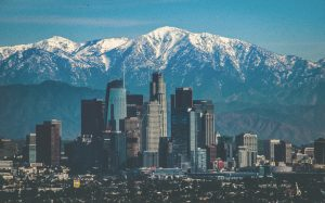 DTLA with Mountains in Background