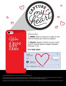 promotion - draw a heart on your check you want to mobile deposit and you could win $100