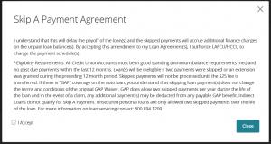 skip a payment agreement