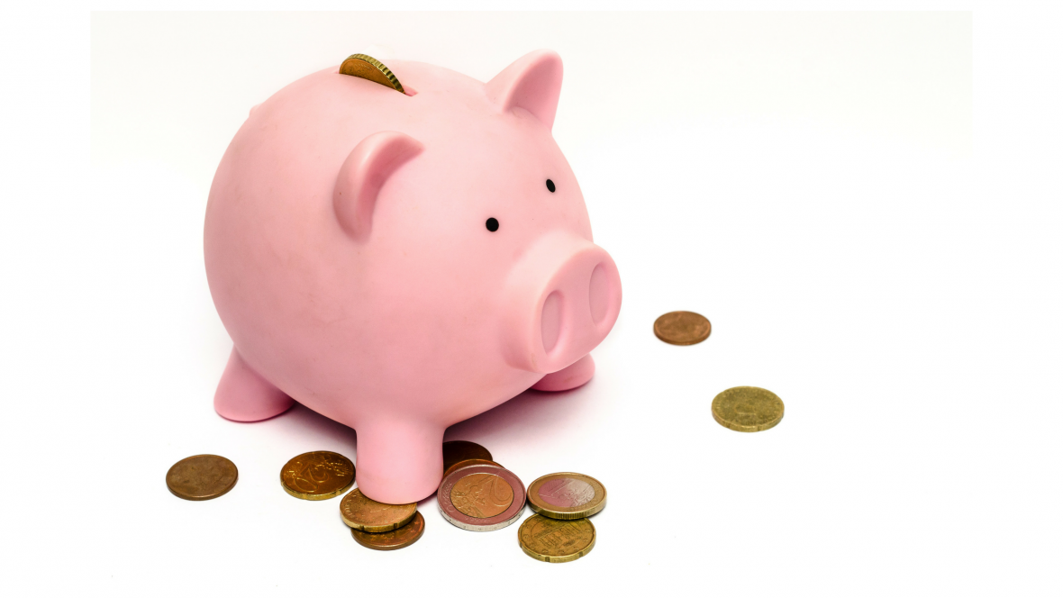 piggy bank with coins and white background