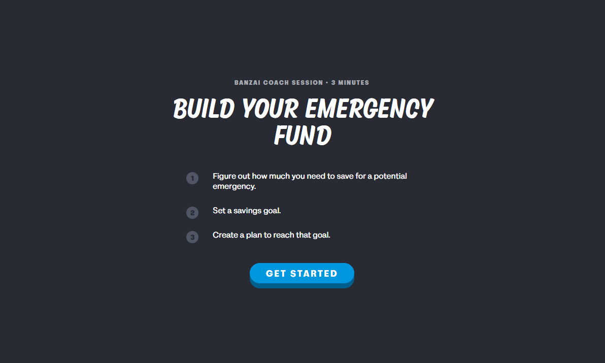 Build Emergency Fund Banzai promo