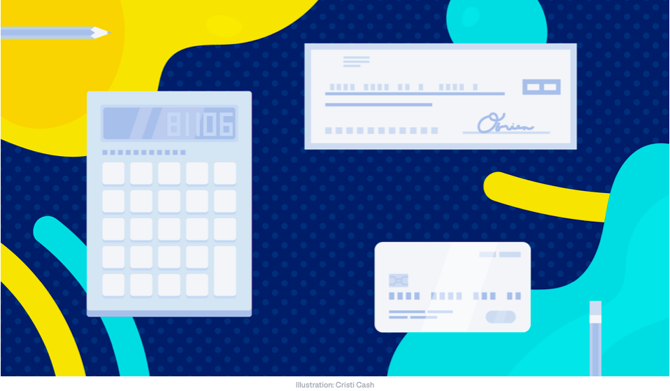 Graphic design of a calculator, a check, and a credit or debit card on an artistic background