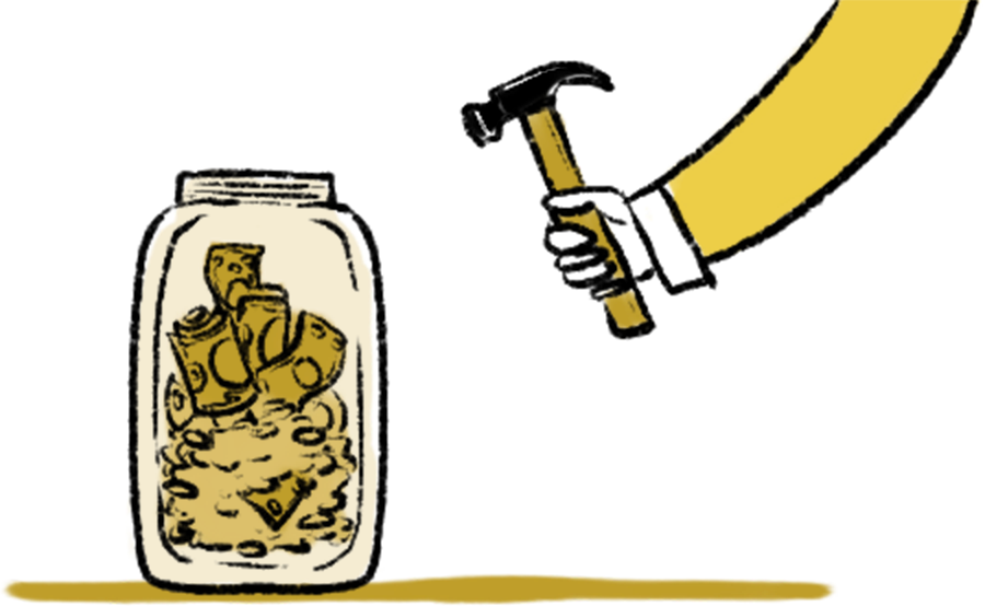 A hand holding a hammer aimed at a glass jar with cash and coins inside
