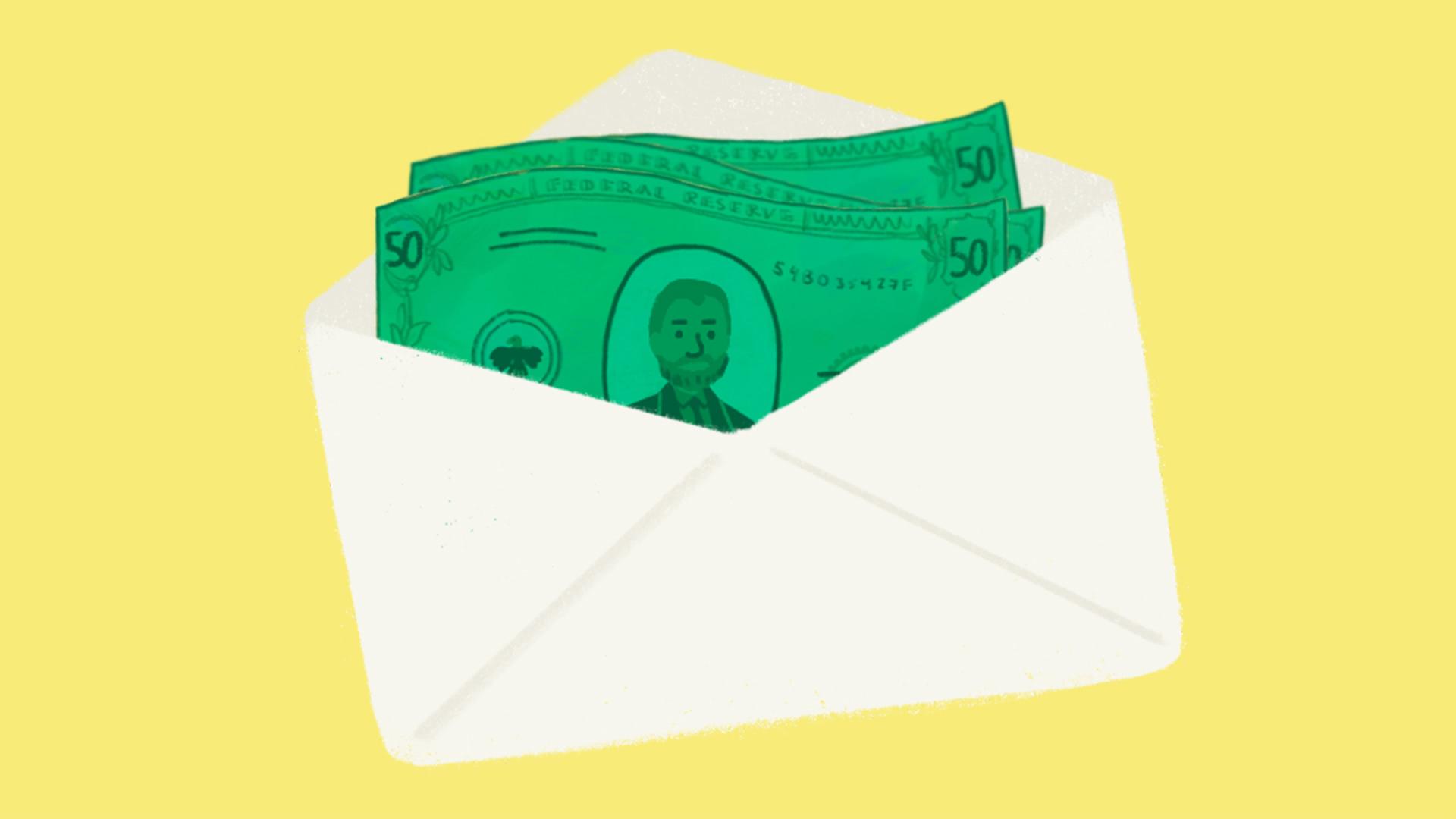 money in envelope illustration