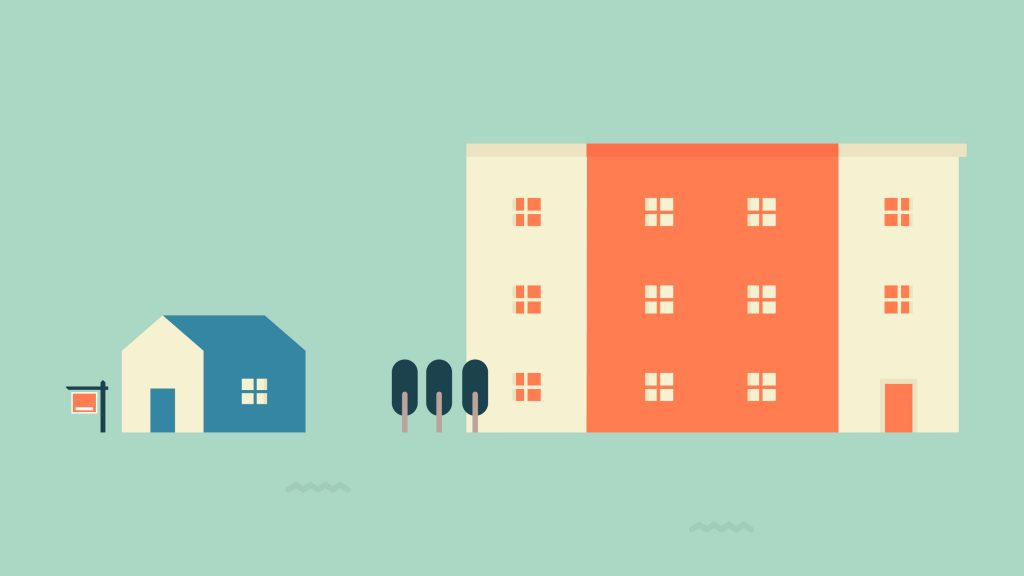 illustration of apartment building and home