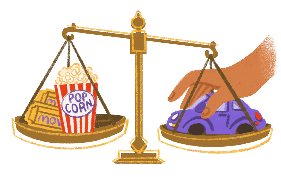 illustration - brass scales weighing popcorn with movie tickets vs a car, with a hand placing the car on the scale and weighing it down