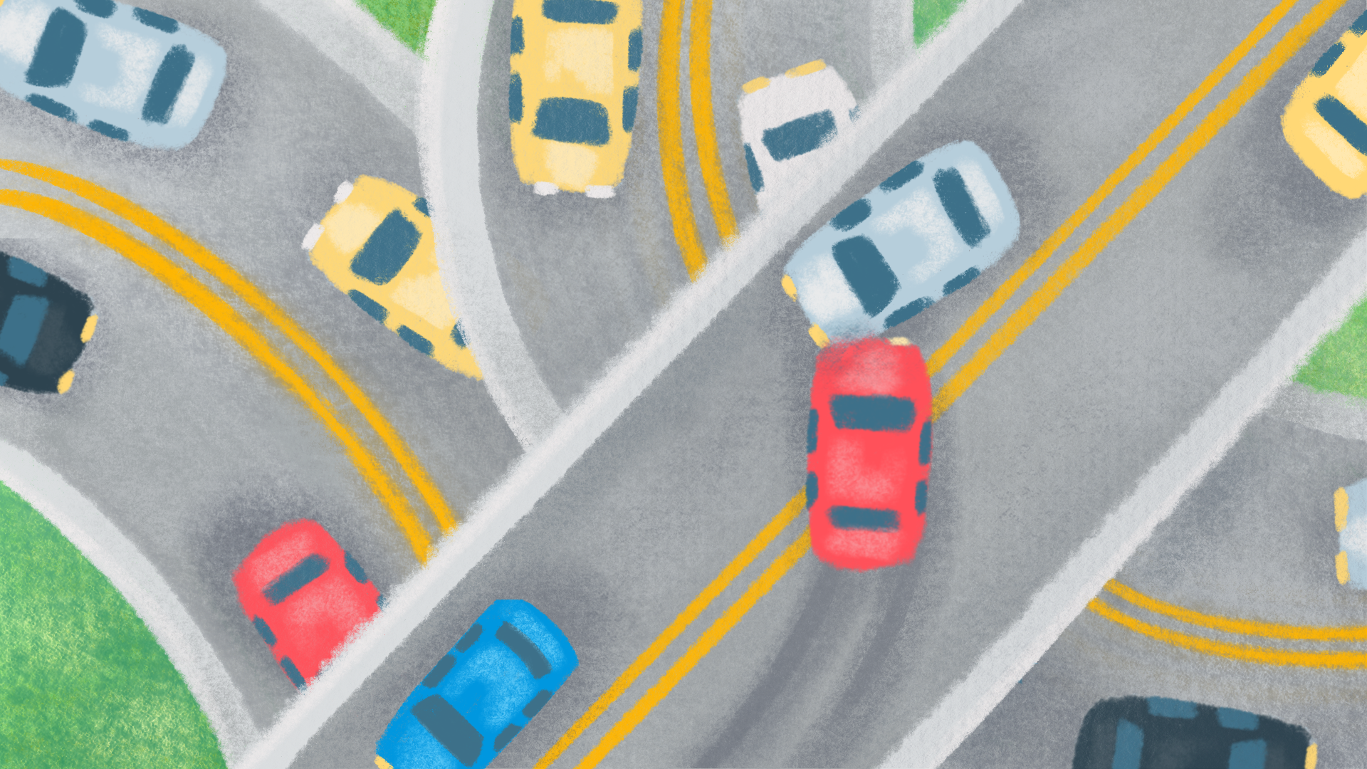 Top down view of cars on multiple busy streets