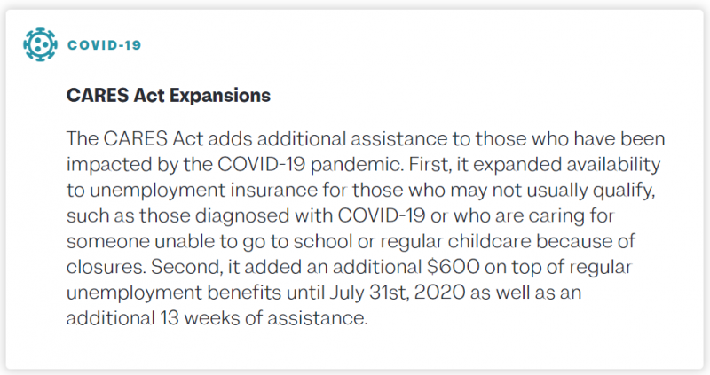 COVID-19: CARES Act Expansions - The CARES Act adds additional assistance to those who have been impacted by the COVID-19 pandemic. First, it expanded availability to unemployment insurance for those who may not usually qualify, such as those diagnosed with COVID-19 or who are caring for someone unable to go to school or regular childcare because of closures. Second, it added an additional $600 on top of regular unemployment benefits until July 31st, 2020 as well as an additional 13 weeks of assistance.
