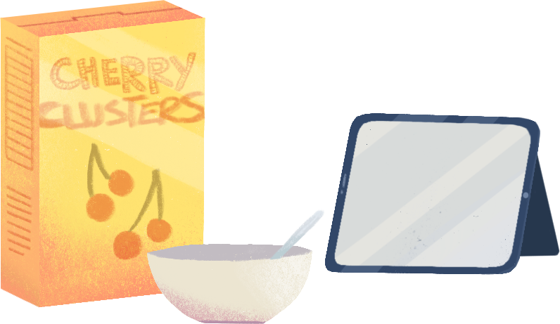 a box of cherry clusters, a bowl with a spoon, and a tablet