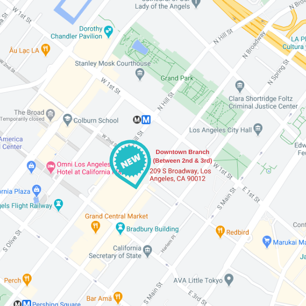 google map of 209 s broadway, downtown los angeles branch location