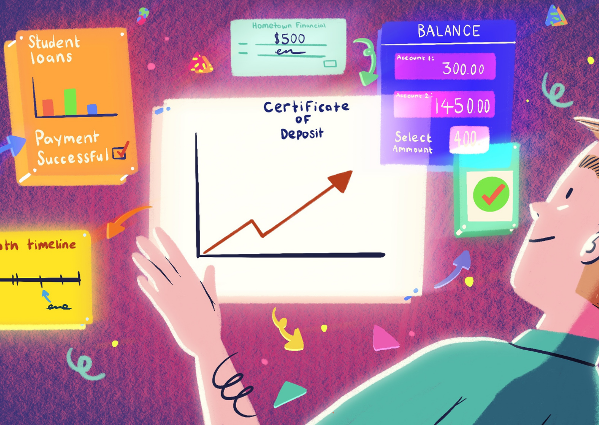 illustration of man looking at investment timeline of a term share certificate