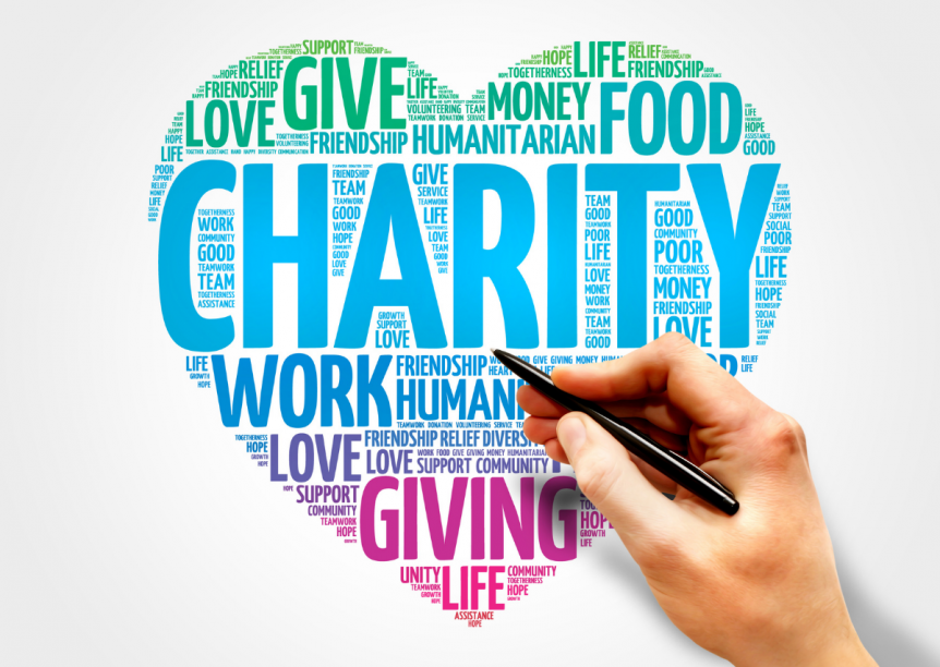 word brainstorm of giving words - give, charity, work, love, food, etc.