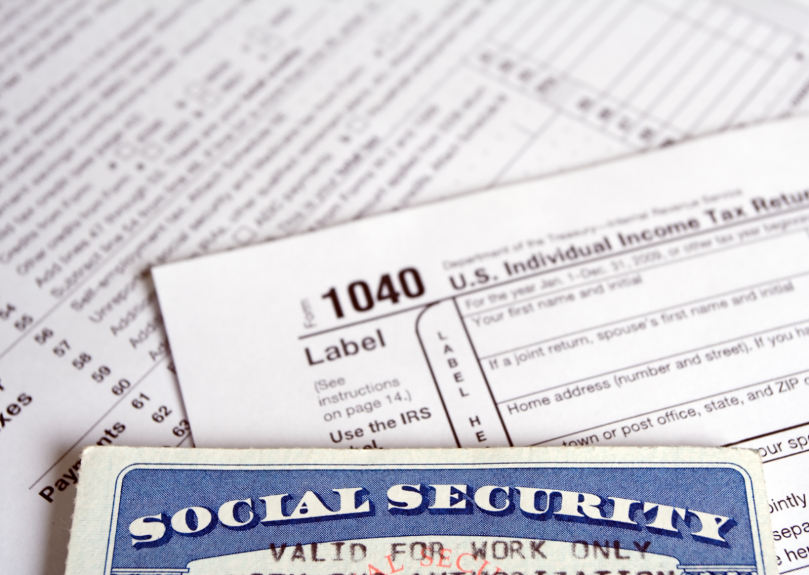 social security card and 1040 tax form