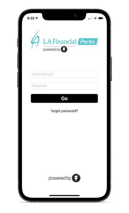mobile phone showing LA Financial Perks app homescreen