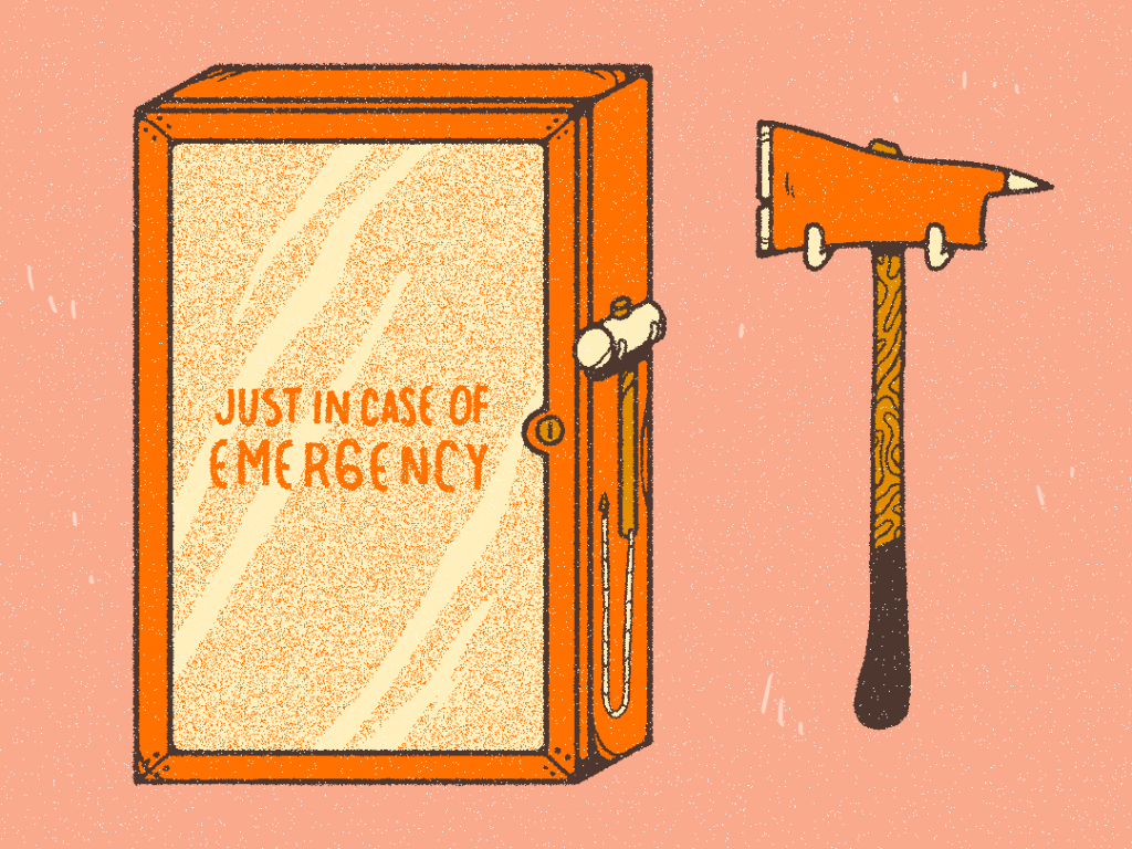illustration: emergency box with ax - just in case of emergency.