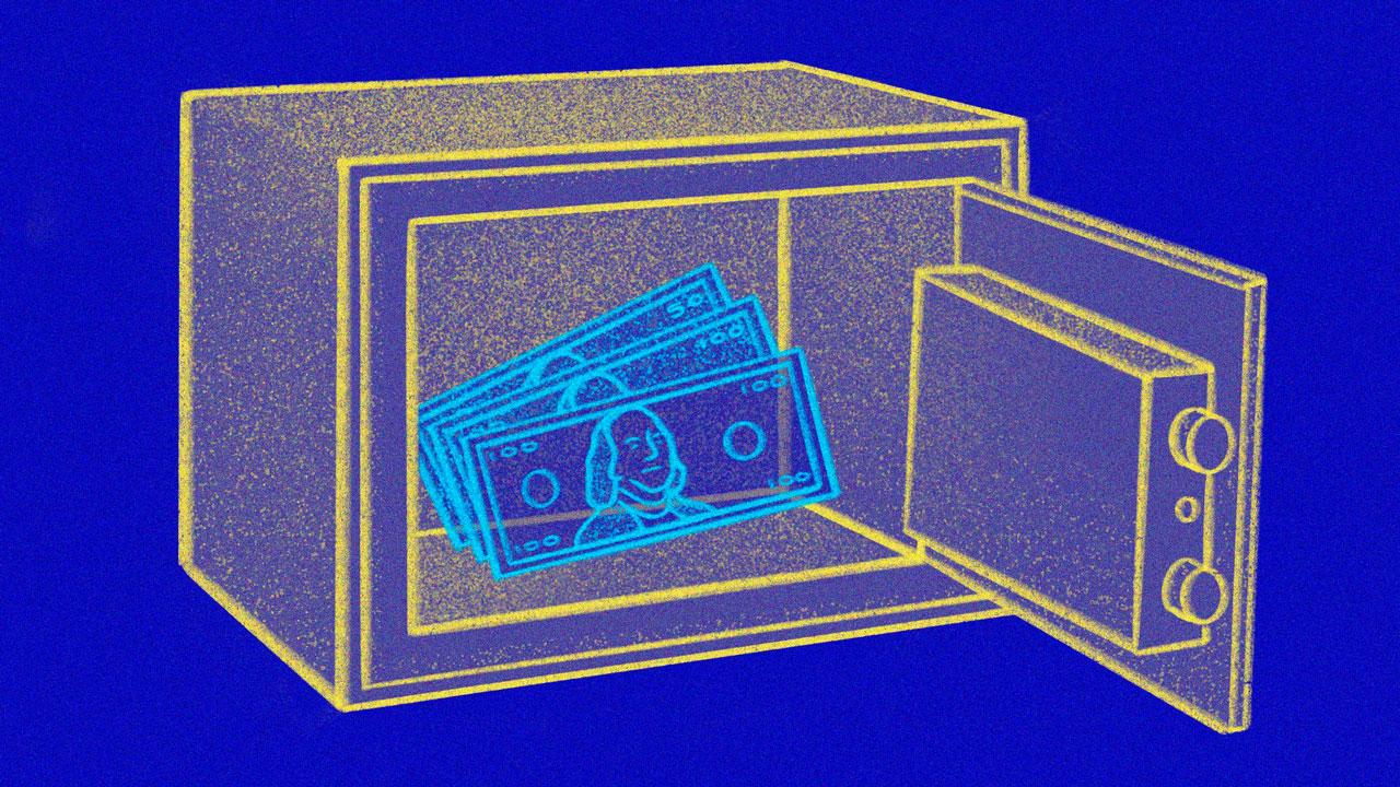 A stylized sketch of a safe with cash inside