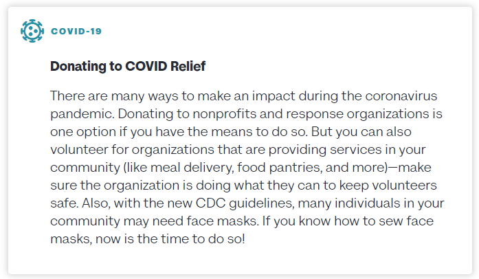 an image containing info regarding donating to covid relief