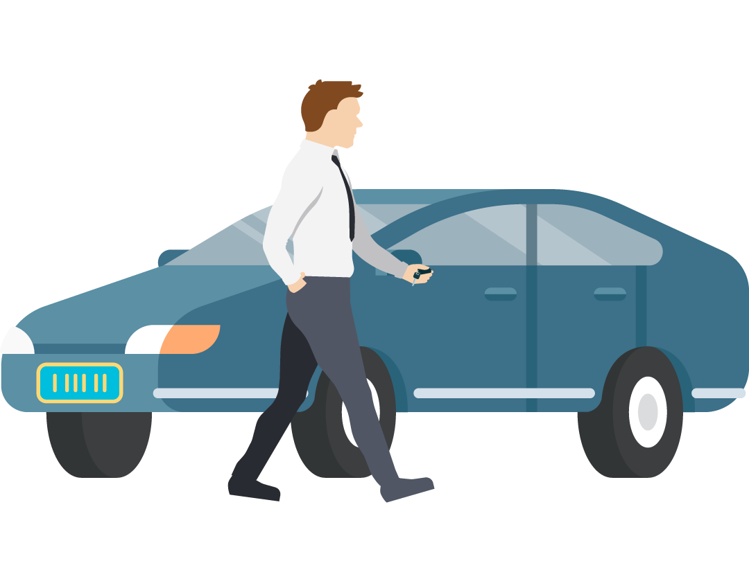 A man walking to his car door with a key and fob in hand