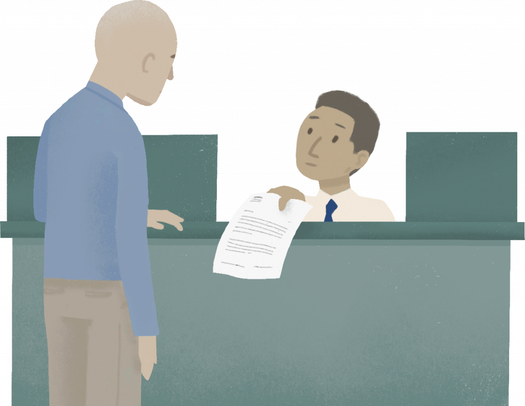 illustration, person, sitting at teller desk, handing a piece of paper to another standing person.
