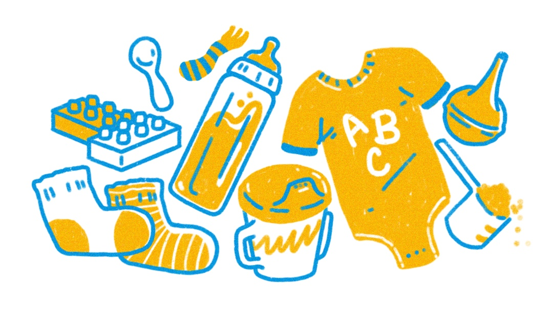 baby clothes and necessities illustration